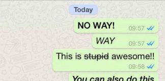 WhatsApp trick for bold, italic and striked messages
