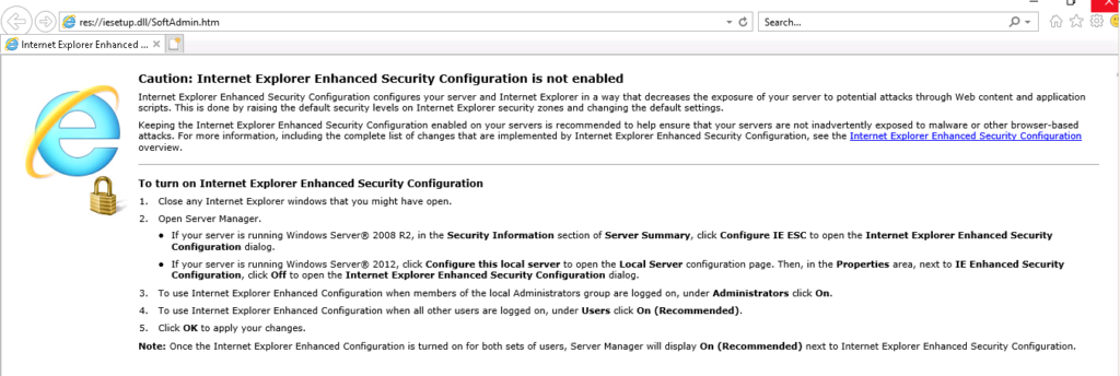 IE Enhanced Security Configuration Disabled Message