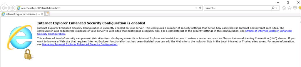 IE Enhanced Security Configuration Enabled Message